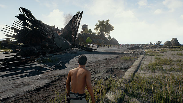 In-Game Screenshot of PUBG Spawn Island in Third Person