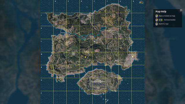 In-game screenshot of PUBG map while in the plane