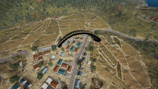 Third Person Screenshot of PUBG player parachuting down to Pochinki