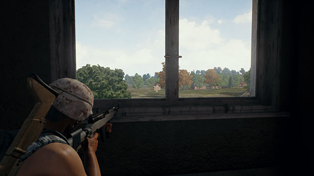 Third person view of a PUBG player using the SKS