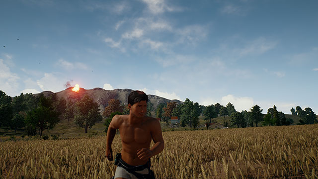 In-Game Screenshot of PUBG player running from explosions.