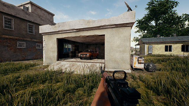 In-Game Screenshot of PUBG Car in Garage