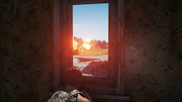 In-Game Screenshot of Red Zone explosions from indoors.