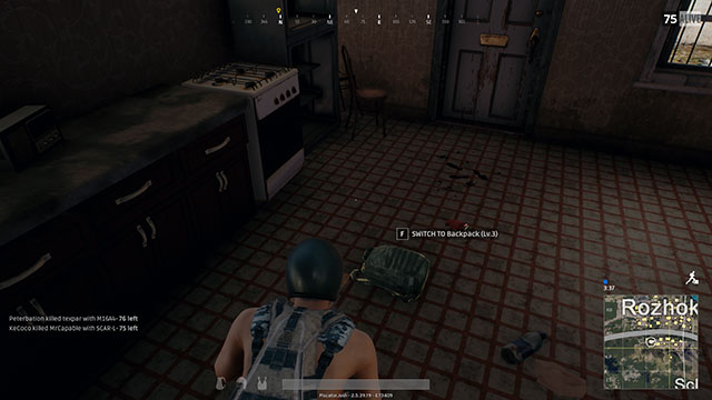 In-Game Screenshot of Player Finding a Level 3 Backpack in PUBG