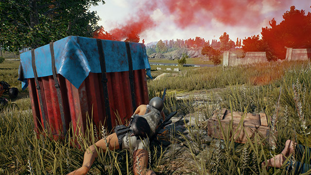 In-Game Screenshot of player looting an Airdrop Crate after killing an enemy with a shotgun