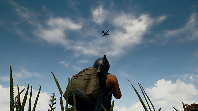 In-Game Screenshot of player looking at a Supply Plane flying overhead during a game of PUBG