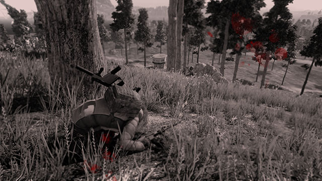 In-Game Cinematic Screenshot of Downed and Dying PUBG player
