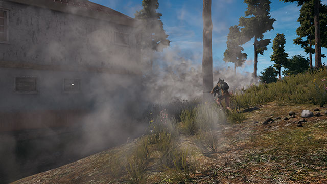 In-Game Screenshot of PUBG Players Running Away Through Smoke Grenades