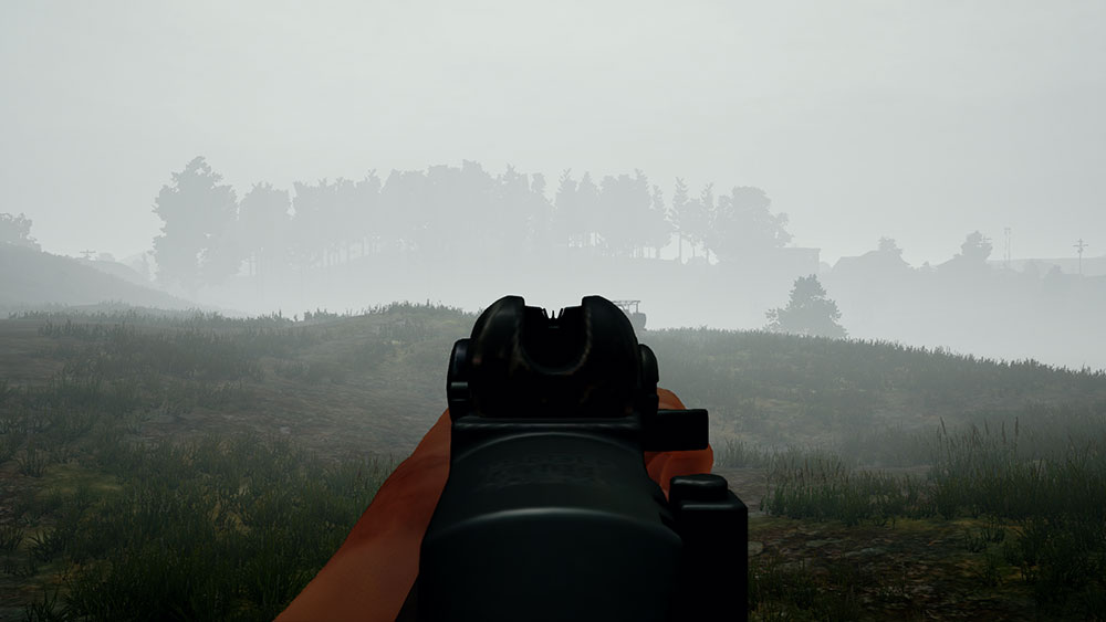First-person view of new PUBG weapon Mini-M14 while ADS-ing with iron sights. Player in foggy weather.