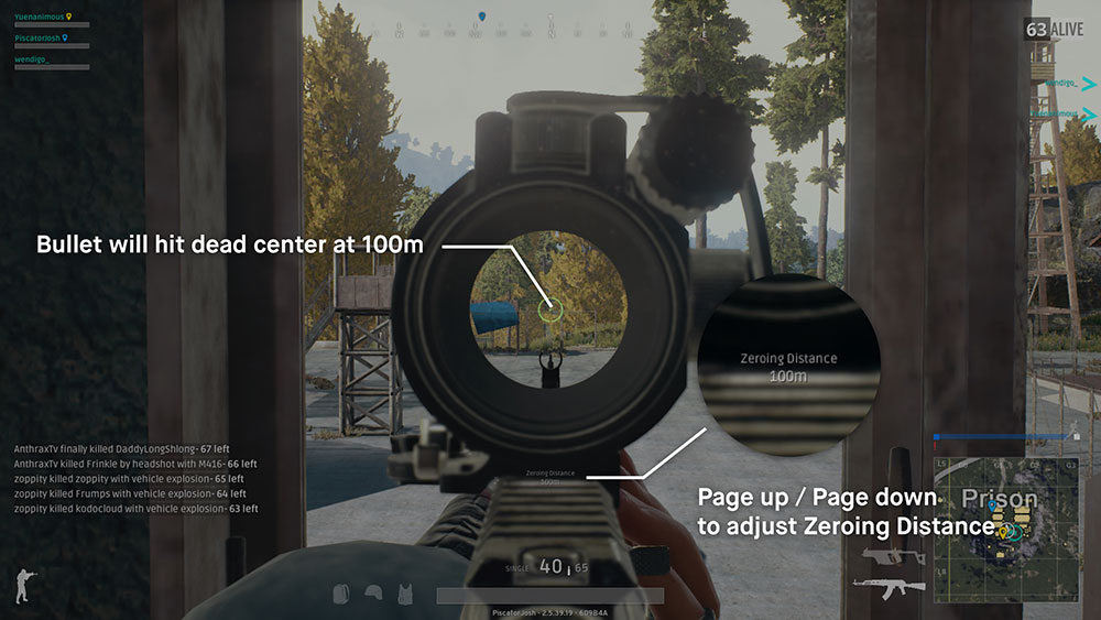 Graphic explaining zeroing sights in PUBG.