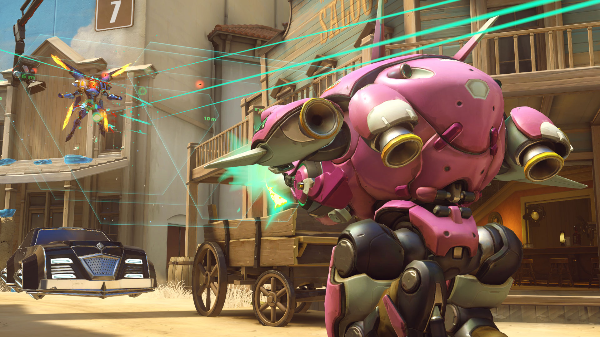 In-Game Screenshot of D.Va and Pharah.