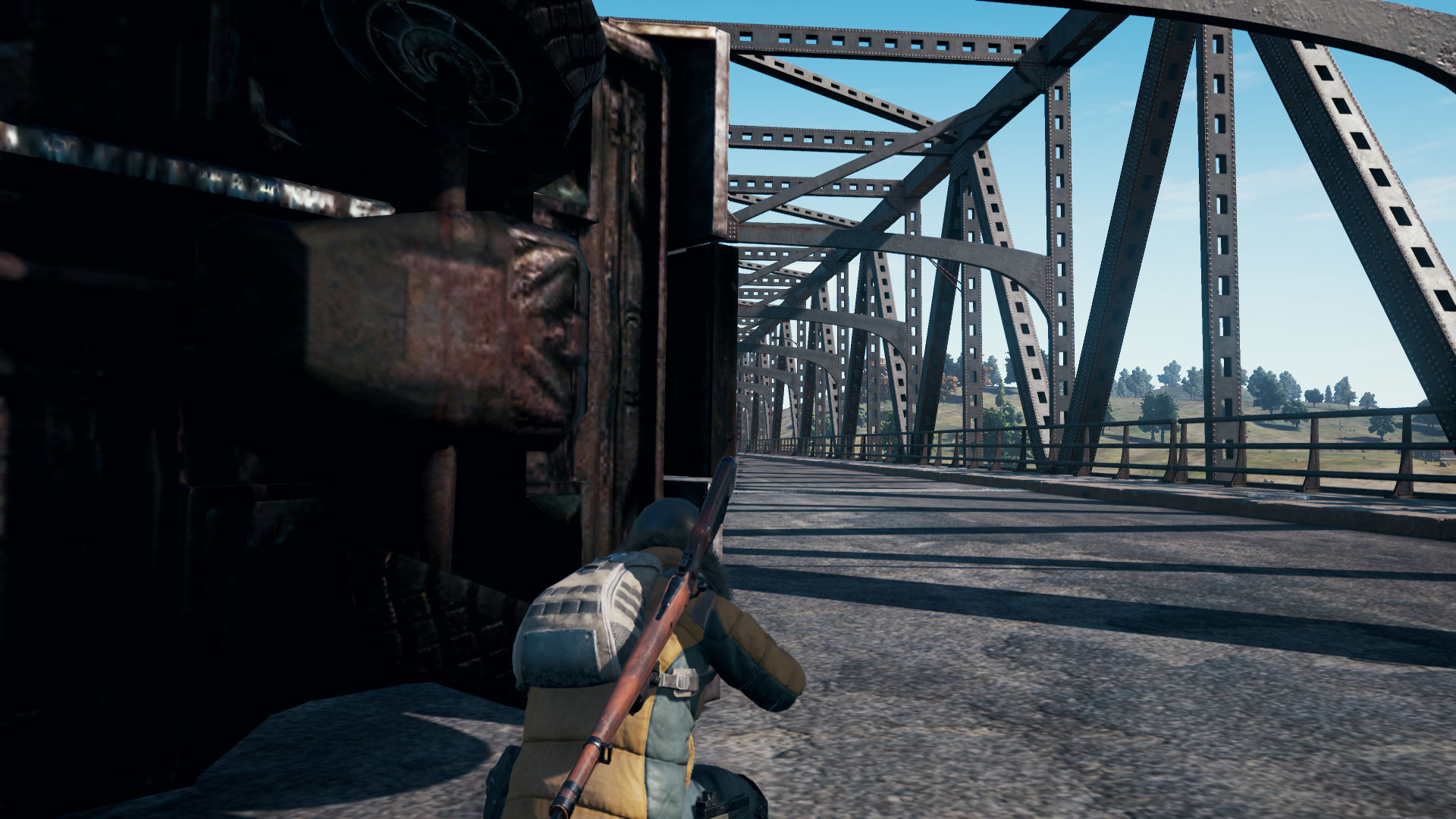 In-game screenshot of PUBG player camping the bridge.