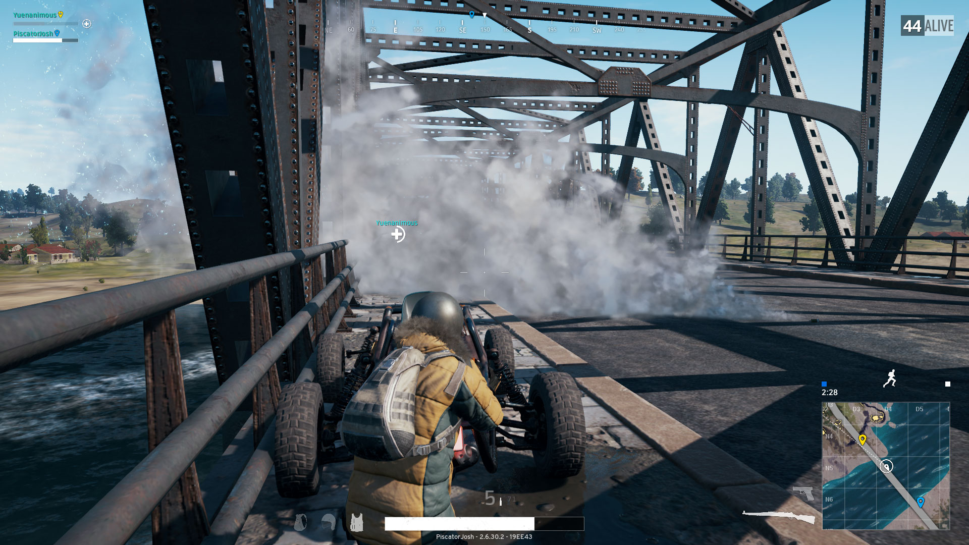 In-game Screenshot of PUBG. Player fighting on bridge with smoke grenade.