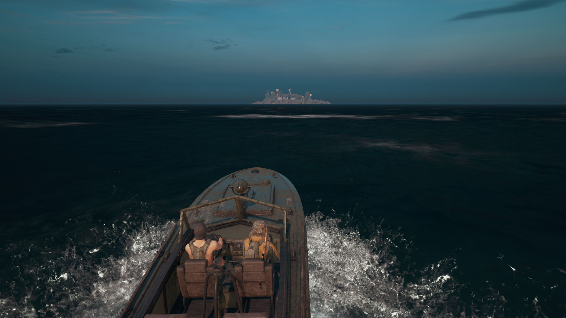 In-game picture of two PUBG players going to Spawn Island in a boat.