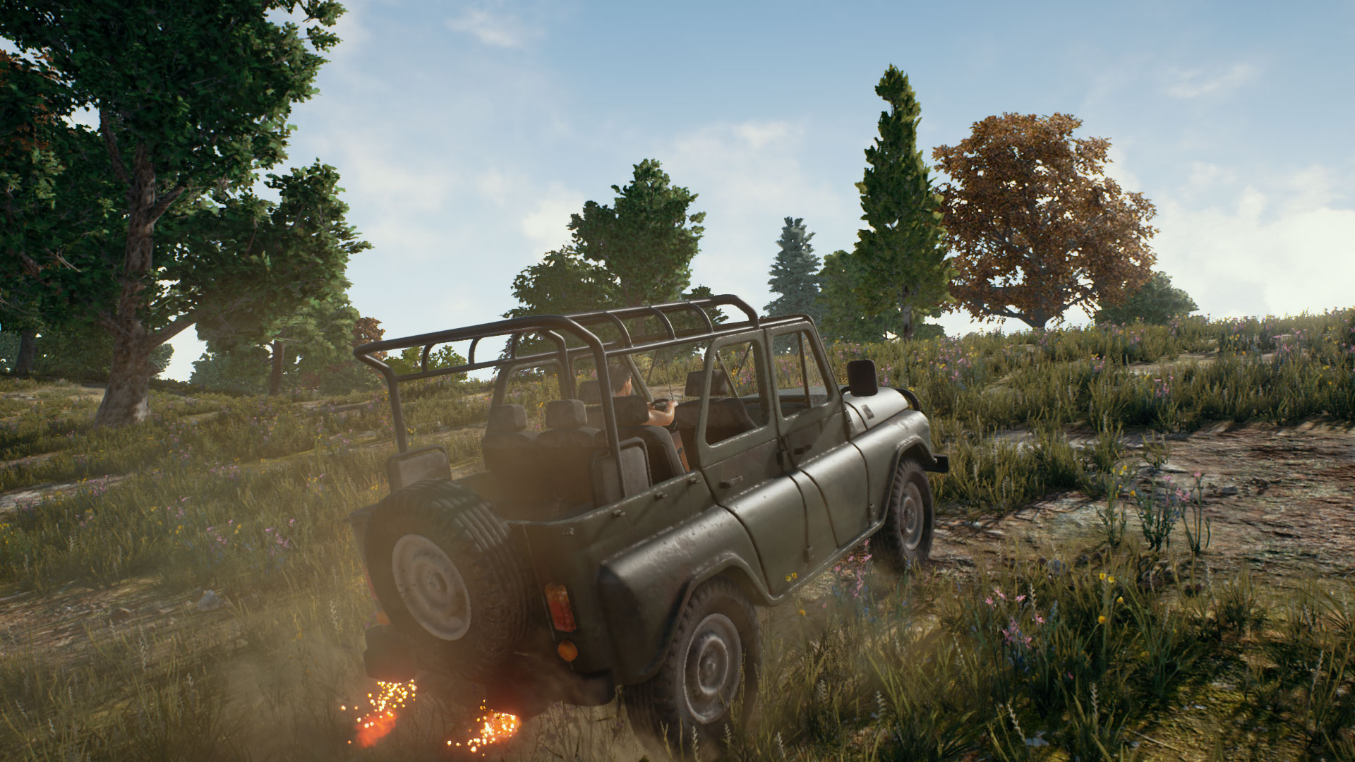 Player driving UAZ Jeep in PUBG.