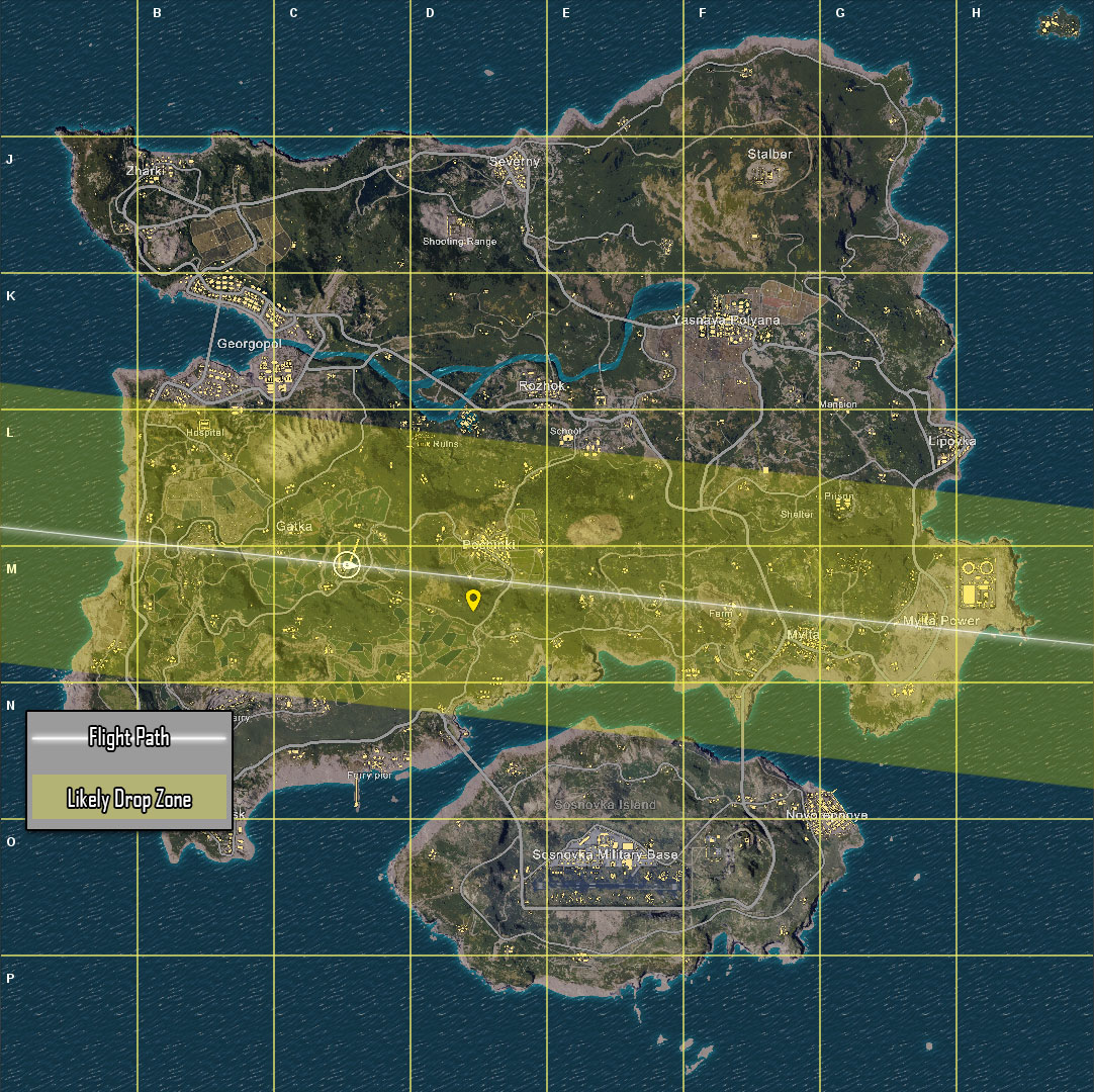 Plane path graphic in PUBG.