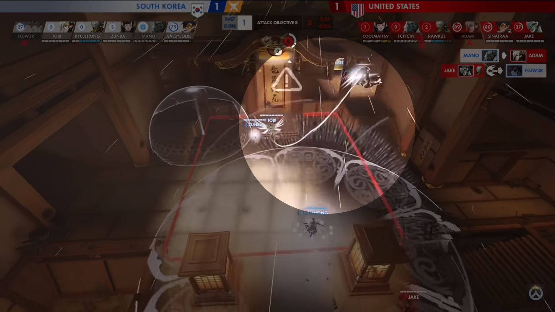 Enhanced image of new spectator system in Overwatch.